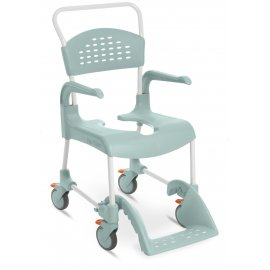 Etac Clean mobile shower commode 55 cm: 4 lockable castors (lagoon green)